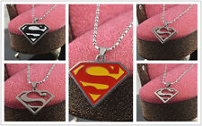 Classic Stainless Steel Chains Superman Pendant Necklace Charms Shield Findings