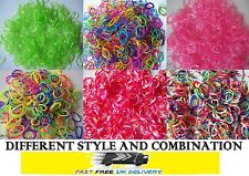 Loom Bands Refill 600 1200 S Clip Rainbow Tie Dye Glitter Rubber Charms Monster
