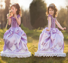 Girls Sofia the First Dress Kids Halloween Evening Party Costume
