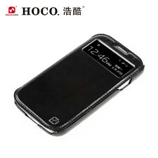 GENUINE HOCO SAMSUNG GALAXY S4 CRYSTAL VIEW REAL LEATHER SIDE FLIP CASE COVER