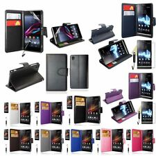 Colour Wallet Leather Stand Case Cover For Sony Xperia FREE Screen Film+Stylus