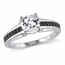 Sterling Silver White Sapphire and Black Accent Diamond Ring 1.52 Ct Cttw