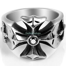 Gothic Punk Style Stainless Steel Biker Cross Men's Ring with Black CZ Size 7-13