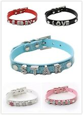 Dog Cat Pet Personalized Collar With Free Rhinestone Name &Charm Leather Collar