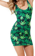 New sexy Hiphop Green Weed Maple Leaf marijuana Print Sleeveless Tights dress