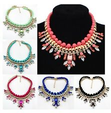 Hot sell Candy Color Plastic pearl bead& crystal Women's New Design Bib Necklace
