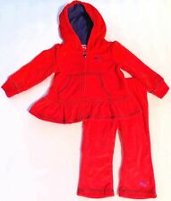 PUMA Girls Red Velour Track Outfit Set size 12 months 24 months NWT