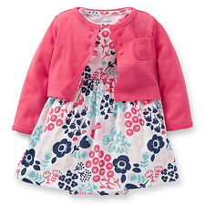 Carters Newborn 3 6 9 12 Months Cardigan & Floral Dress Set Baby Girl Outfit