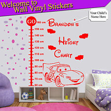 Lightning McQueen Car Height Chart Personalised Kids Children Wall Stickers cm