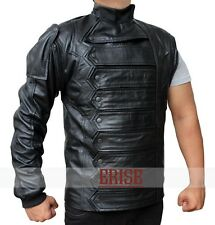 Winter Soldier Bucky Barnes Leather Vest and Jacket 2 in 1-MONEY BACK GUARANTEE!