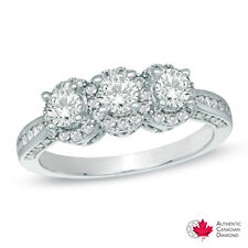 1.00 CT. T.W. Certified Canadian Diamond Three Stone Engagement Ring in 14K Wh..