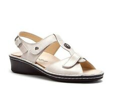 Finn Comfort Women's Adana Leather T Strap Sandals Silver Luxory 2660
