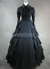 Black Victorian Gothic Princess Layered Ruffles Long Sleeve Lolita Cosplay Dress