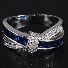 Size 6-10 Fancy Cross Blue&White Sapphire White Gold Filled Ladys Wedding Ring