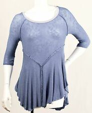 FREE PEOPLE INTIMATELY WEEKENDS BLUE LAYERING LIGHTWEIGHT SHEER KNIT TOP SHIRT