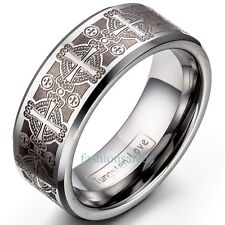 8mm Triton Tungsten Carbide Ring Comfort Fit Laser Etched Cross Men's Band Gift
