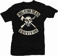 The Walking Dead Inspired Zombie Survivor Outbreak TV Skull Gun Mens T-Shirt