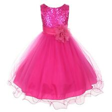 Fuchsia Flower Girls Sequin Glitter Beaded Dress Wedding Pageant Graduation Prom