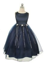Lovely Cute NAVY BLUE PEARL Flowers Girls Dress Wedding Pageant Dinner Holiday