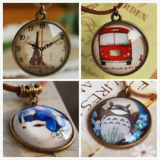 Vintage Eiffel Tower Bus Beauty Glass Round Pendant Charm Leather Chain Necklace