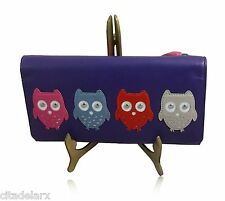 Purse Real Leather Ladies Wallet Large Trifold Mala Owls Womens Kyoto 313745 New