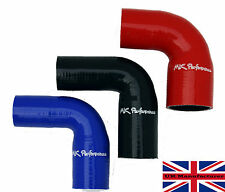 90 DEGREE SILICONE REDUCER HOSE TURBO INTERCOOLER WATER BOOST BLACK BLUE RED