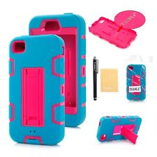 Silicone Skin + Plastic Hard Case with Stand for Apple iPhone 4 4S Pink Inner