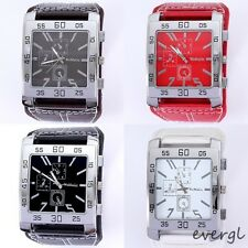 Korean Fashion Square Big Dial Silver Case Analog Men Sport Wrist Quartz Watch