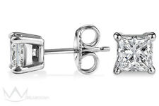 925 Solid Sterling Silver Basket Setting Princess Cut CZ Stud Earrings 4mm x 4mm