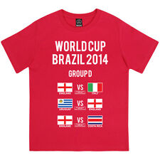 WORLD CUP BRAZIL 2014 BOYS ENGLAND GROUP D FOOTBALL FIXTURES FANS KIDS T-SHIRT