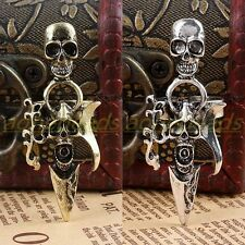 1Pc Tibetan Silver Bronze Skull Head Dagger Adjustable Finger Ring Men's Jewelry
