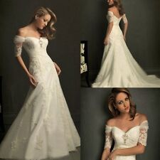Sales And Free Shipping Short Sleeves Applique Bridal Wedding Dress