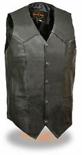 Mens Tall Leather Classic Snap Front Black Biker Vest