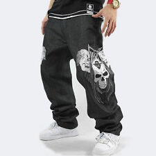 New Mens Hip Hop Jeans Denim Embroidery Skull Skeleton Baggy Trousers Streetwear