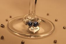 A24T Dark Lilac Top Table Personalised Wedding Wine Glass Charms /Favours