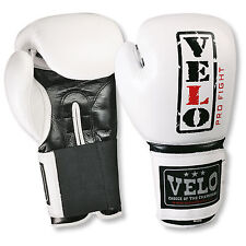 VELO Leather Gel Boxing Gloves Fight Punch Bag MMA Sparring Muay Thai Fight WHT