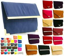 WOMENS SYNTHETIC LEATHER ENVELOPE GOLD EDGING CLUTCH BAG PARTY EVENING BAG
