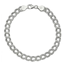 "Pure 925 Sterling Silver 7mm Italian Double-Link Chain Bracelet for Charms 7""-9"""
