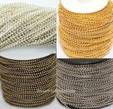 5m/100m Silver/Golden/Bronze Metal Ball Round Chain Fit For Necklace 2.5mm