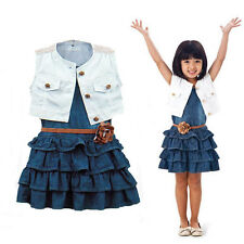 Baby Girl Kids Outfit Clothes Coat + Denim Dress 2 Pieces Set with Belt For 1-6Y