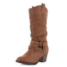 WOMENS ROCKET DOG SIDESTEP RIDER FABRIC TAN SLOUCH COWBOY CALF BOOTS LADIES SIZE