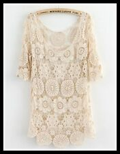 FREE GIFT ~VTG HIPPIE BOHO FLORAL CROCHET LACE FESTIVAL WEDDING DRESS TUNIC TOP