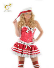 Womens Sexy Sailor Corset Basque Mini Hat Socks Fancy Dress Red Burlesque Plus