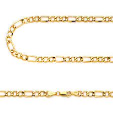 14k Yellow Gold 5.2mm Italy Figaro Link Chain Necklace 20, 22, 24, 26 Inch