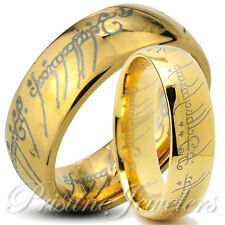 His & Her Lord of the One Elvish Rings 18k Gold Plated Tungsten Ring Jewelry SET