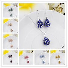 Fashion Crystal Teardrop Beads Pendant Chain Necklace&Earrings Jewelry Sets