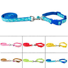 "11-17"" Nylon Pet Dog Collar & Lead Leash Set with Bell Cute For Small Dogs Teddy"
