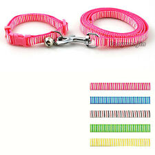 "8-13"" Nylon Stripe Pattern Dog Puppy Pet Collar & Walking Leash with Bell"