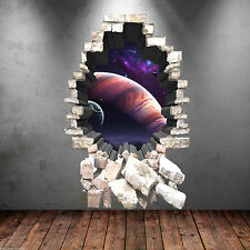 3D Full Colour Deep Space Planets Wall Art Sticker Boy Decal Mural Graphic Print