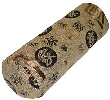 wd55g Brown Gold Black Pale Brown Embroidered Cotton Yoga Bolster Cushion Cover